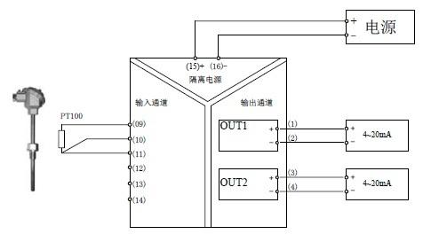 一入两出热电阻转换器正面图: