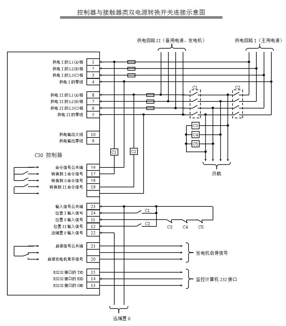 用于不带0位置的转换开关            接线方式四:用于外接接触器实现